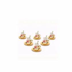Ceramic Flower Gold Tea Cup, Set Of 6