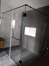 Black metal shower glass partition