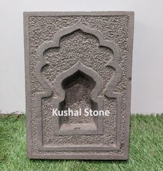 Grey Double Frame Traditional Devali Artifact In Solid Basalt Stone Handcrafted, Thickness: 4 Inch