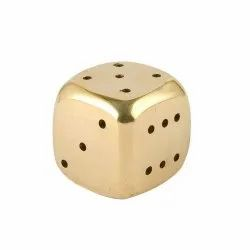 Brass Dice/Pasa with Round Edges in Antique Gold Sleek Finish