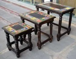 Brown Rectangular Wooden Nesting Tables, For Home