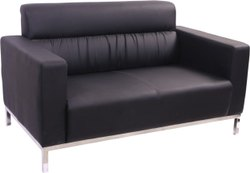 Black Foam Leatherite Upholstered Office Sofa Set, Seating Capacity: 2 Seater, Shape: Linear