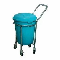 SS Round Dustbin Trolley