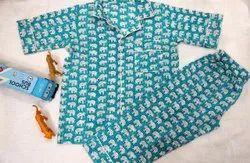 Full Length Blue Elephant Printed Cotton Night Dress, Free Size