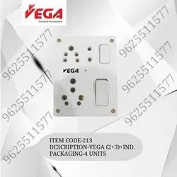 Vega Polycarbonate 6 And 16 Amp Ss Combined With Box 2+3, For Electrical Fittings