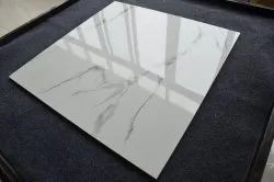 Porcelain Glossy White Indonesian Marble Tiles Volakas 600x600mm Ceramic Tile, Size: 60 * 60 In Cm, Thickness: 9.6+-0.2 Mm