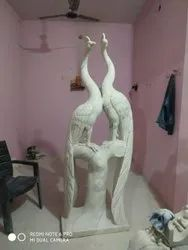 Indoor White Marble Peacock, For Decoration, Size: 5 - 8 Inch