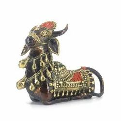 Multicolor Dhokra Nandi Sitting With A Mukut, For Decoration, Size/Dimension: 8.5 X 6