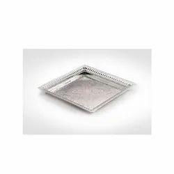Square Cutwork Silver Tray