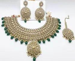 Brass Golden,Green Women Necklace, Box