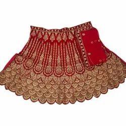 Velvet Embroidery Peacock Pattern Wedding Embroidered Lehenga Choli