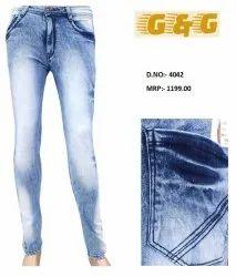 Blue Plain Comfort Fit Mens Jeans