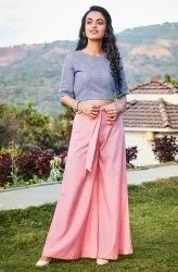 Janasya Women's Blue Cotton Crop Top(J0085)