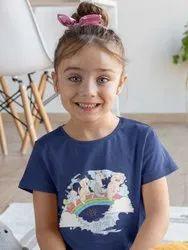 Girls Pig Cat Dog Bunny Duck On Rainbow Printed T Shirt