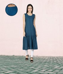Fabclub Rayon Solid Plain Pleated Women Teal Blue Kurta