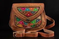 Brown Women Leather Sling Bag, Size: 9 X 11 Inch