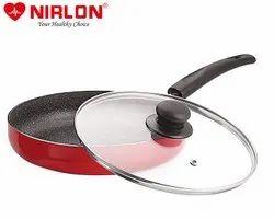 Nirlon Nonstick Aluminium Ruby Fry Pan with Glass Lid