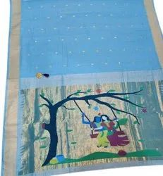 6.3 m (with blouse piece) Party Wear Printed Cotton Paithani Saree
