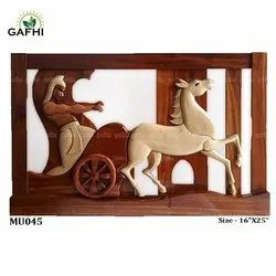 Multicolor Hand Made Wooden Crafts (Chariot Horse), For Home Decoration, Size: 16