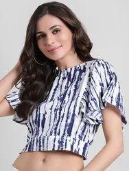 Women Blue & White Dyed Crop Top