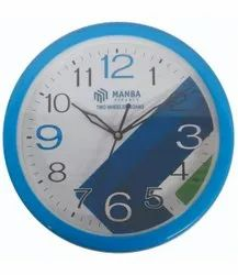 Printed Analog Sky Blue Frame Plastic Round Wall Clock, For Office, Size: 240x240x40mm