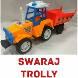 Plastic Swaraj Tractor Trolley Truck Toy, For Kids Playing