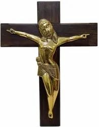 Antique Jesus Crucifix Wall Hanging Christ Cross in Canadian Pine Wood
