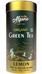 Alpino Certified Organic Lemon Green Tea 100 G ( Rich In Anti-oxidants / Detox Green Tea)