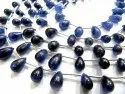 Natural Blue Sapphire Teardrop Smooth Beads 5-6mm To 6-10mm Strand 8 Inch Long