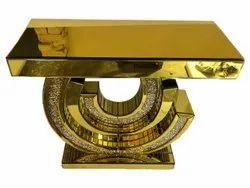 Wooden Modern Stainless Steel Golden Center Table, For Hotel, Size: 3x2feet