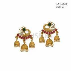 Fusion Antique Polki Chandbali Earrings