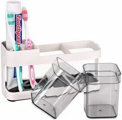 Toothbrush Toothpaste Stand Holder with 2 Removable Cup / Bathroom Toiletries Organizer