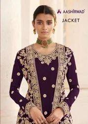 Aashirwad Creation Jacket Georgette Embroidered Designer Suit Catalog