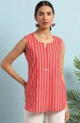 Janasya Women's Red Cotton Slub Tunic(JNE3684)