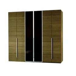 Brown Wood and Glass Modular Wooden Bedroom Wardrobe