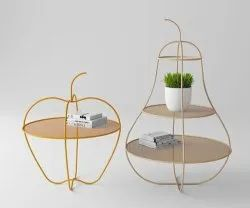Golden Brass Decorative Table, For Home