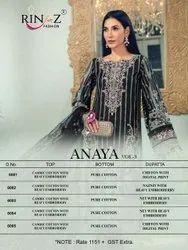 Anaya Vol 3 Rinaz Cambric Cotton Pakistani Fancy Suits Wholesale Catalog