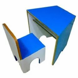 Single Wooden Table And Chair Model Blue Shade