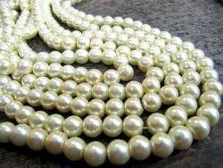 Faux Pearl Golden Color 8mm Beads Strand 16 Inch Long Jewelry Making Off White Golden Pearl Beads