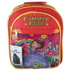 Polyester Printed Red Kids School Bag
