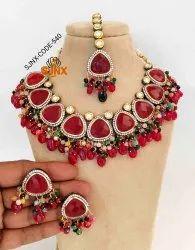 Ruby Artificial Jewelry Designer Necklace Set Wedding Wear Jewellery, Earring,Tikka