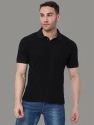 Behariji Enterprises Plain Black Polo T-Shirt, Size: XS-XXL
