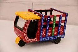 Decorative Wooden Taxi Auto Rickshaw Showpiece, For Decoration