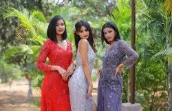 Party Wear Women Evening Gowns Red Carpet Gowns, Size: Free