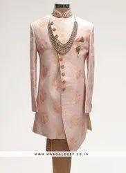 Fabulous Pink Color Function Wear Men Indo Western Kurta Pajama