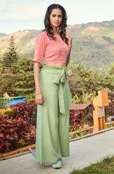 Janasya Women's Pink Cotton Crop Top(J0089)