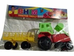 Yellow,Green And Red Plastic Baby Super Bhim Tractor Trolley Toy, For School/Play School