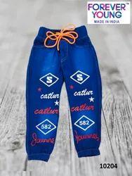 Blue Kids Boys Printed Jogger Jeans