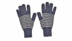 Dark Green Striped Winter Gloves