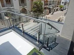 Stainless Steel Matte Outdoor Stair Railing., For Hotel